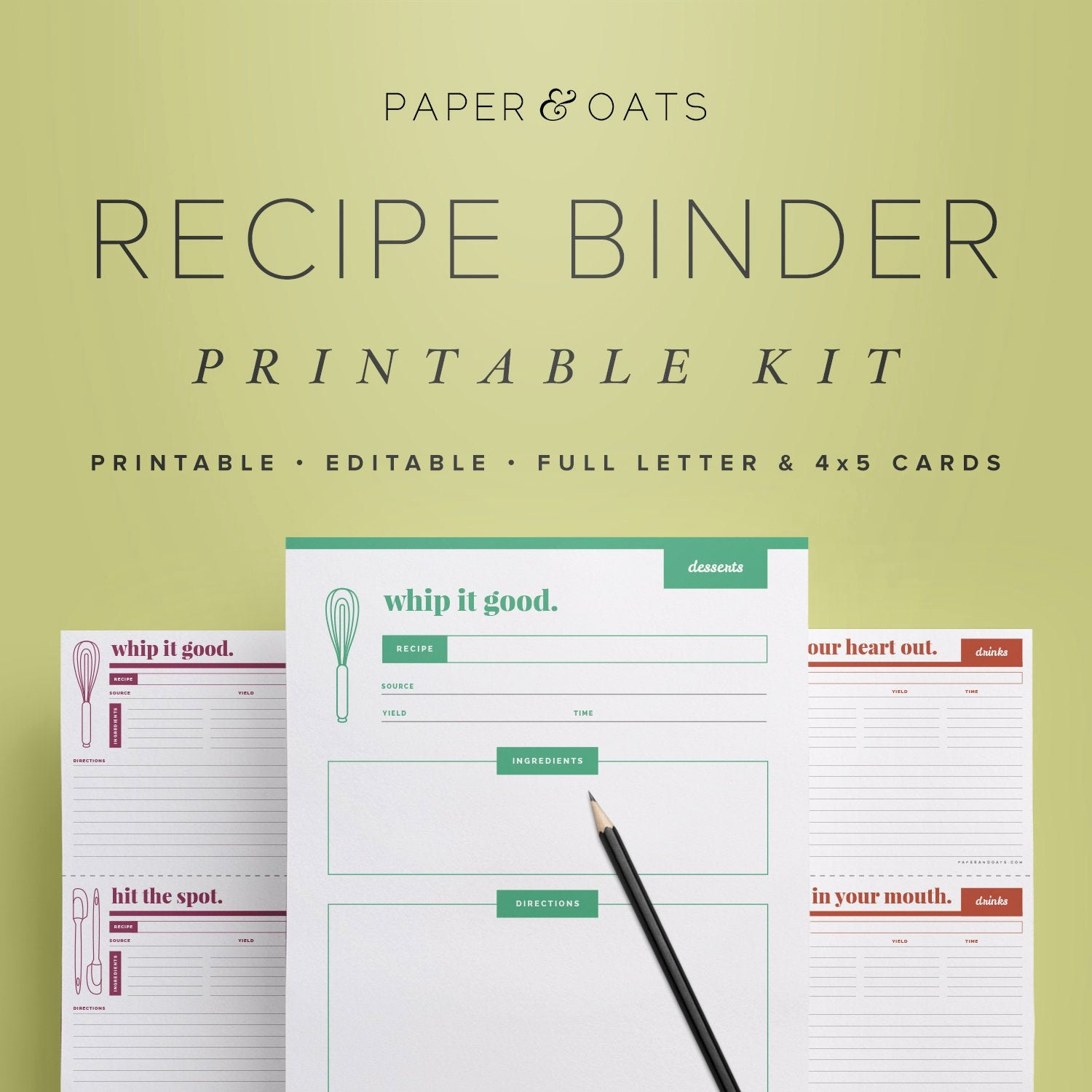 Free Recipe Binder Templates Luxury Recipe Binder Kit Printable Recipe Box Cards Recipe