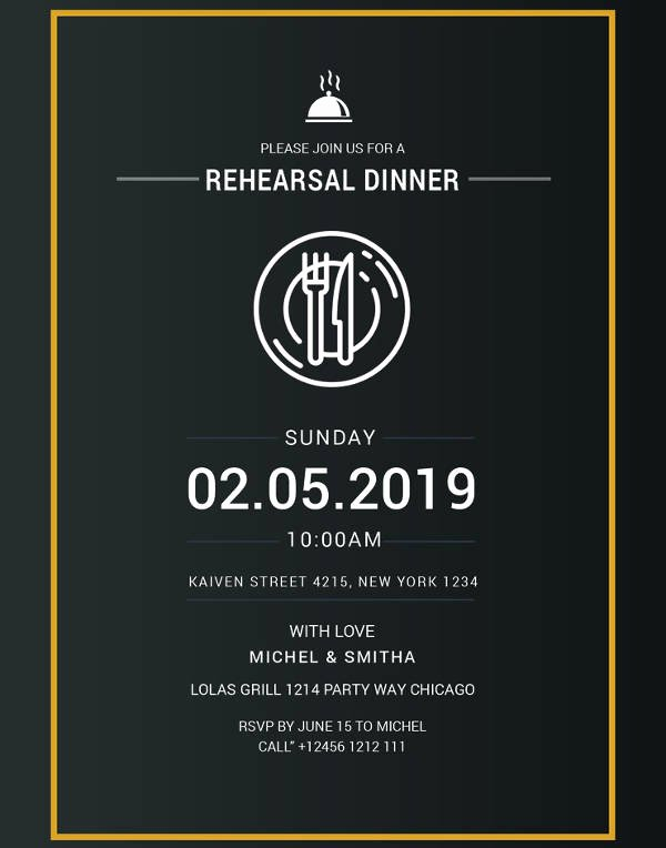 Free Rehearsal Dinner Template Beautiful 17 Rehearsal Dinner Invitation Designs & Templates Psd