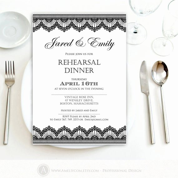 Free Rehearsal Dinner Template Inspirational Rehearsal Dinner Invitation Printable Black Lace Weddings