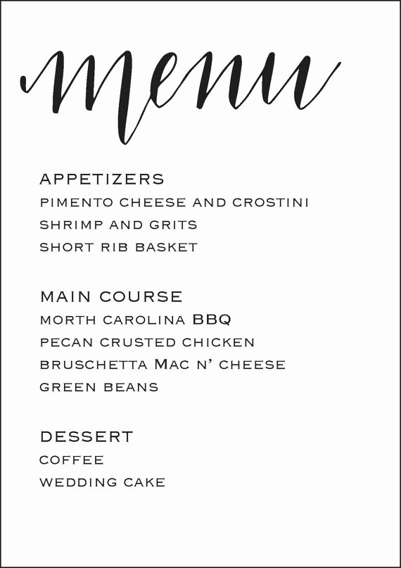 Free Rehearsal Dinner Template Luxury Wedding Reception Menu 5x7
