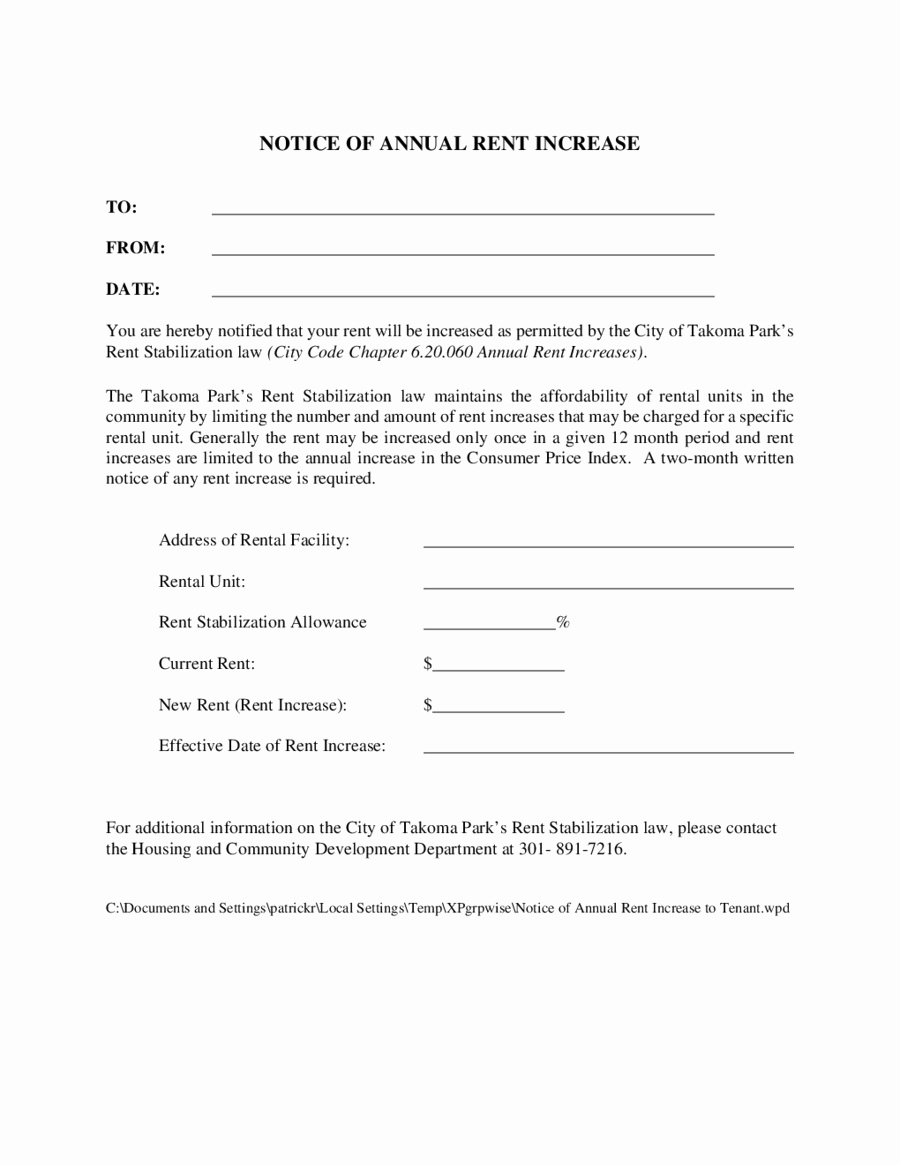 Free Rent Increase form Fresh Notice Of Annual Rent Increase to Tenant Edit Fill