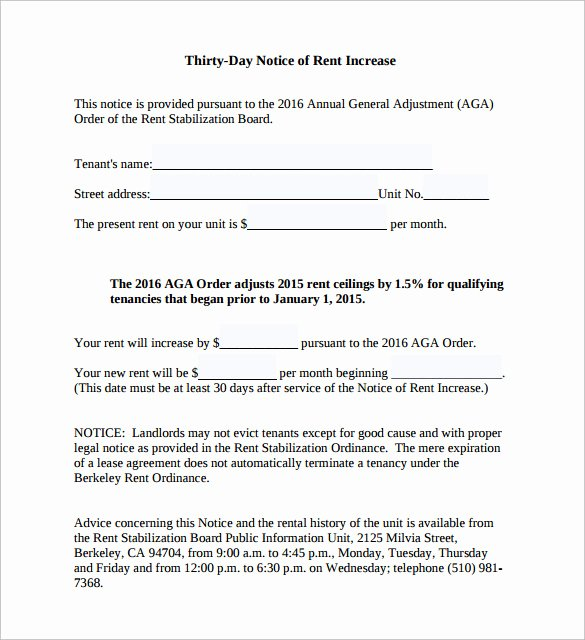Free Rent Increase form Fresh Sample Rent Increase Notice 10 Free Documents In Pdf Word