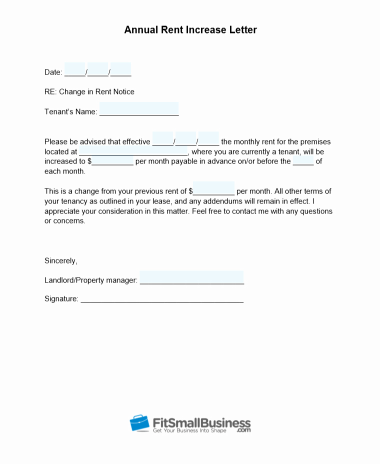 Free Rent Increase form Luxury Sample Rent Increase Letter [ Free Templates]