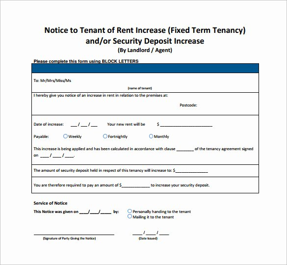 Free Rent Increase form New Sample Rent Increase Notice 10 Free Documents In Pdf Word