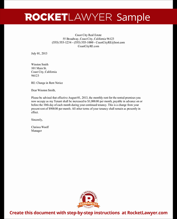 Free Rent Increase Letter Inspirational Rent Increase Letter with Sample Notice Of Rent Increase