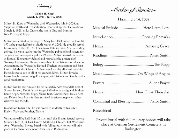 Free Sample Funeral Program Template Elegant Free Printable Funeral Programs
