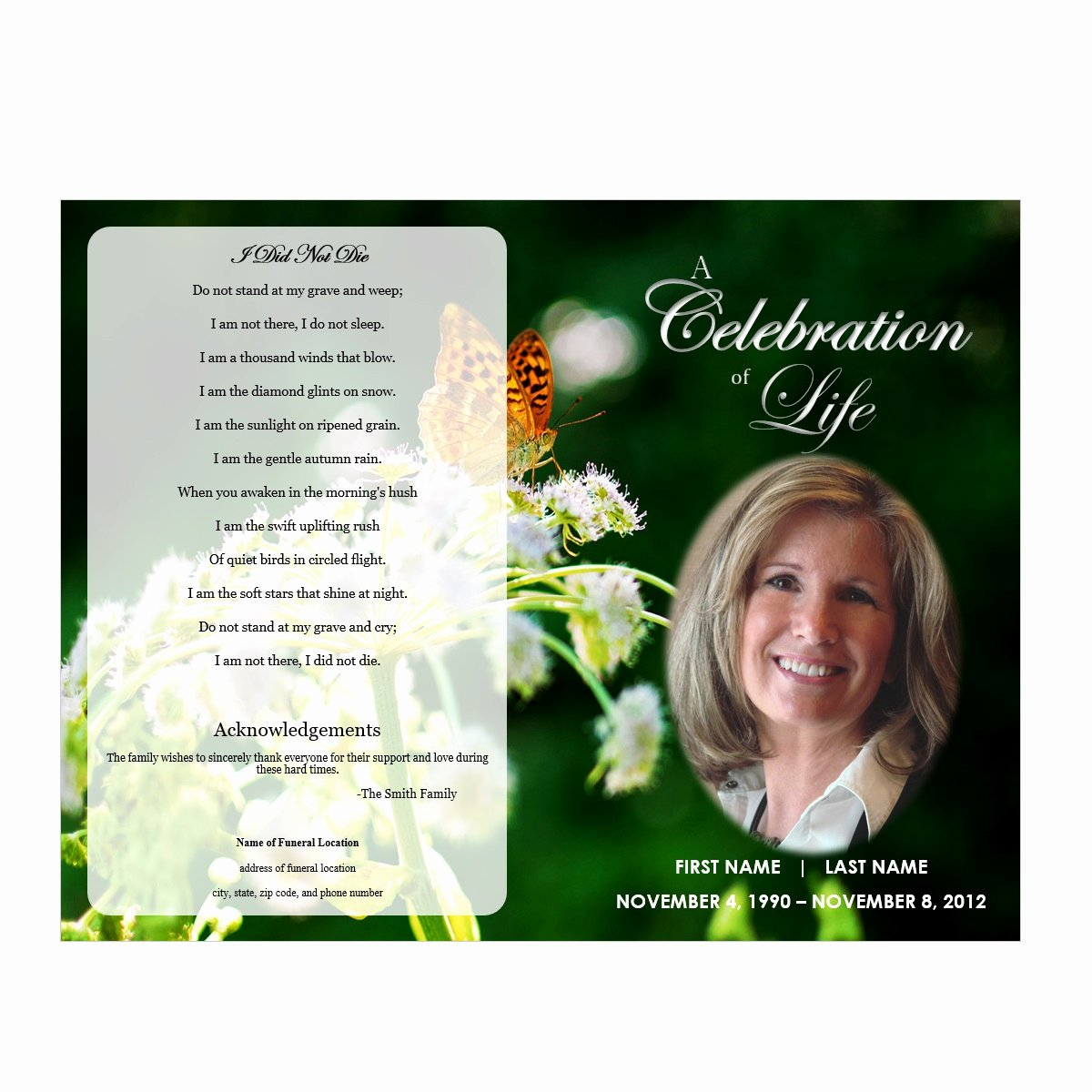 Free Sample Funeral Program Template Inspirational butterfly Memorial Program