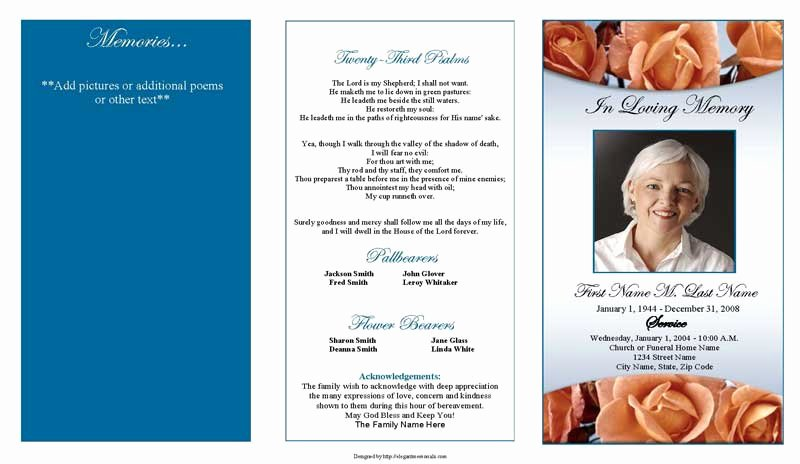 Free Sample Funeral Program Template Luxury Memorial Roses Trifold Funeral Program Template Elegant