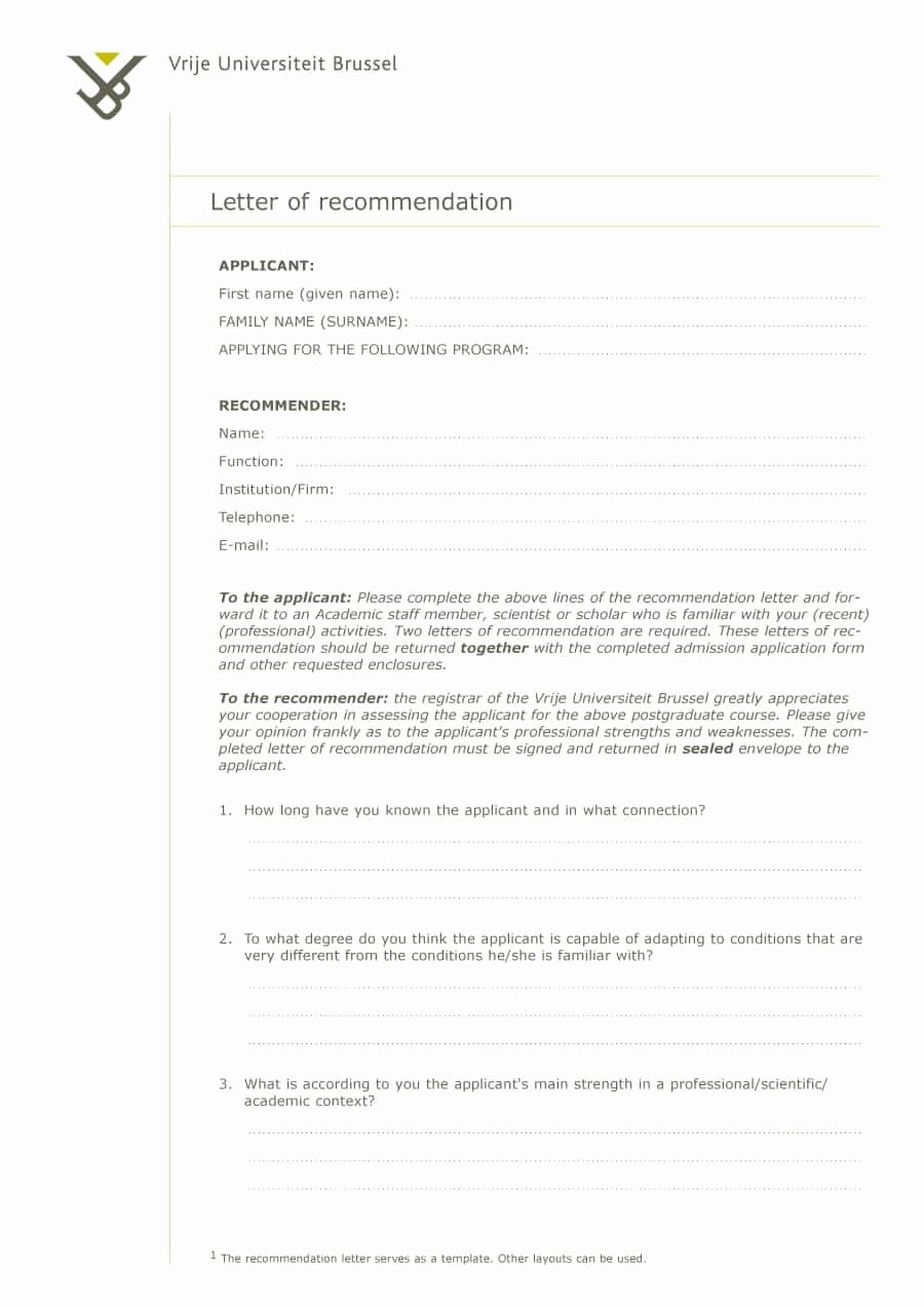 Free Sample Letter Of Recommendation Lovely 43 Free Letter Of Re Mendation Templates & Samples