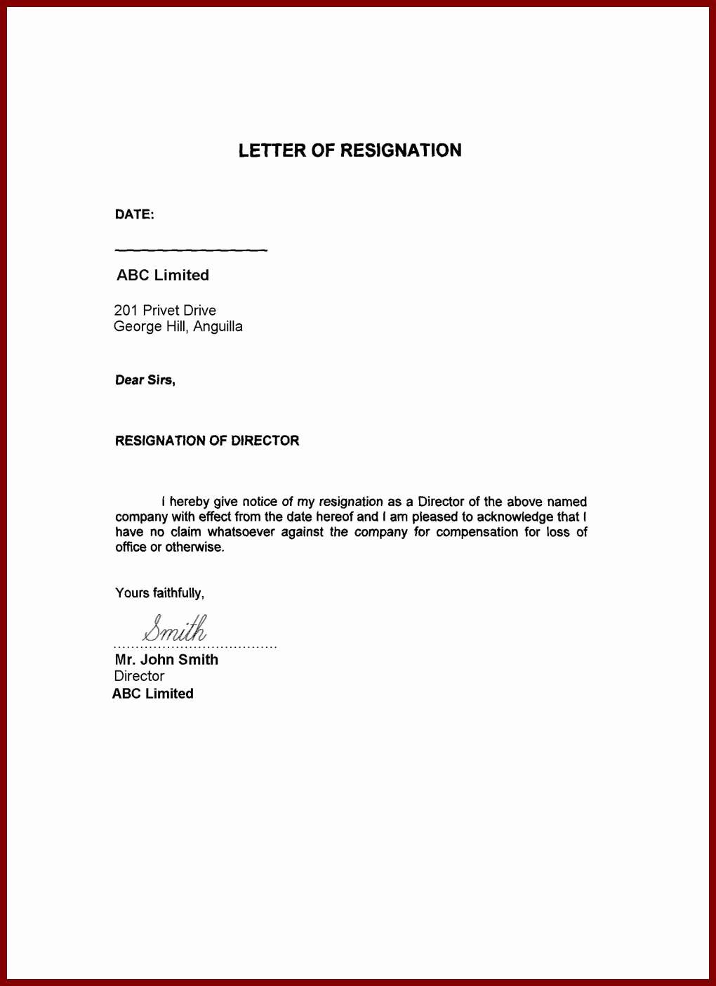 Free Sample Resignation Letter New Image Result for Resignation Letter Word format Family