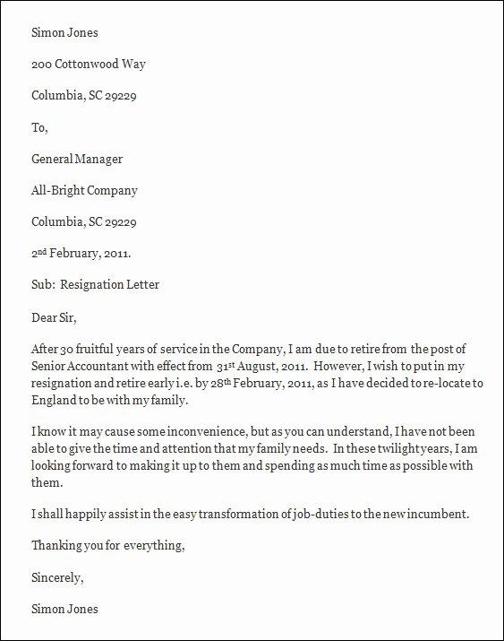 Free Sample Resignation Letter New Resignation Letter Template Free Resignation Letter Template