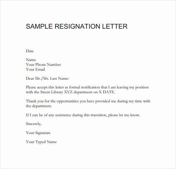 Free Sample Resignation Letter New Sample Resignation Letter format 14 Download Free