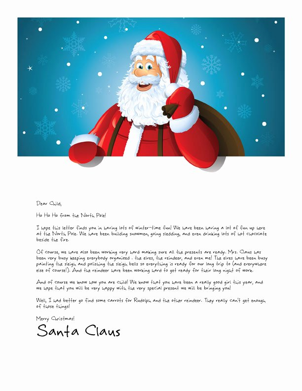 Free Santa Letter Template Elegant Easy Free Letters From Santa Claus to Children