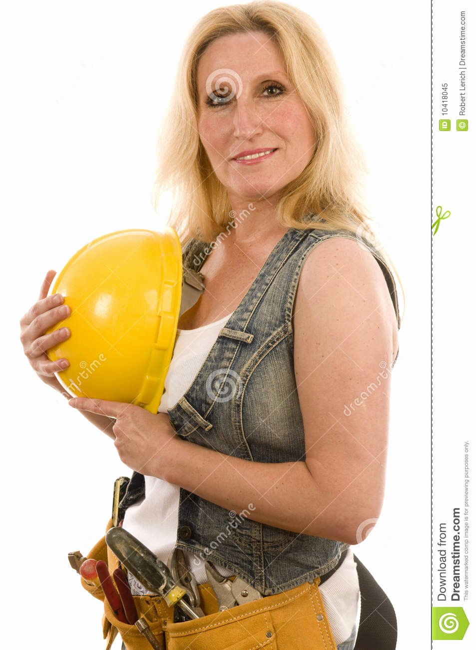 Free Sexy Women Photos Awesome Contractor Construction Lady with tools Royalty Free Stock