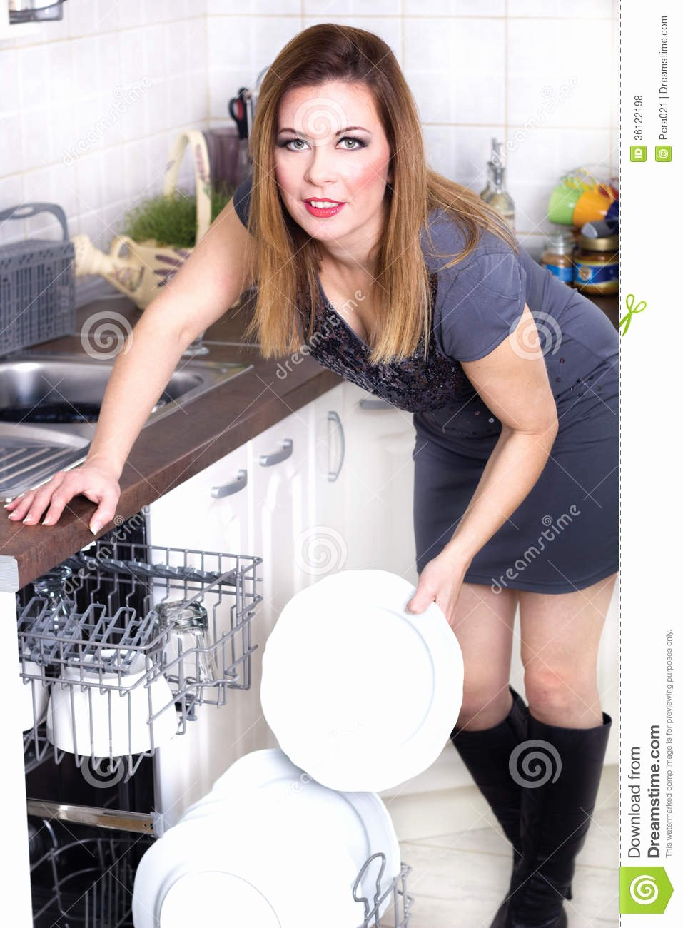 Free Sexy Women Photos Awesome Woman In Kitchen Doing Housework Stock Image