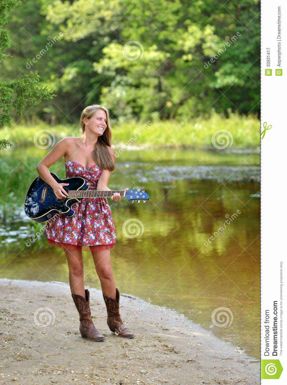 Free Sexy Women Photos Lovely Beautiful Female Guitar Player Outdoors Royalty Free Stock