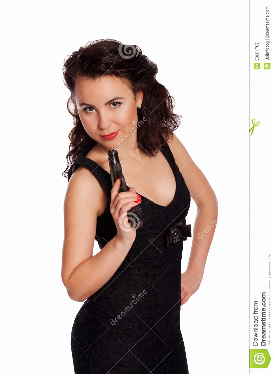Free Sexy Women Photos Lovely Y Woman In Black Dress with A Gun Royalty Free Stock