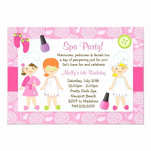 Free Spa Party Invitations Awesome Kids Spa Birthday Party Invitation