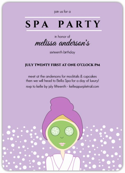 Free Spa Party Invitations Awesome Purple Spa Girl Birthday Party Invitation