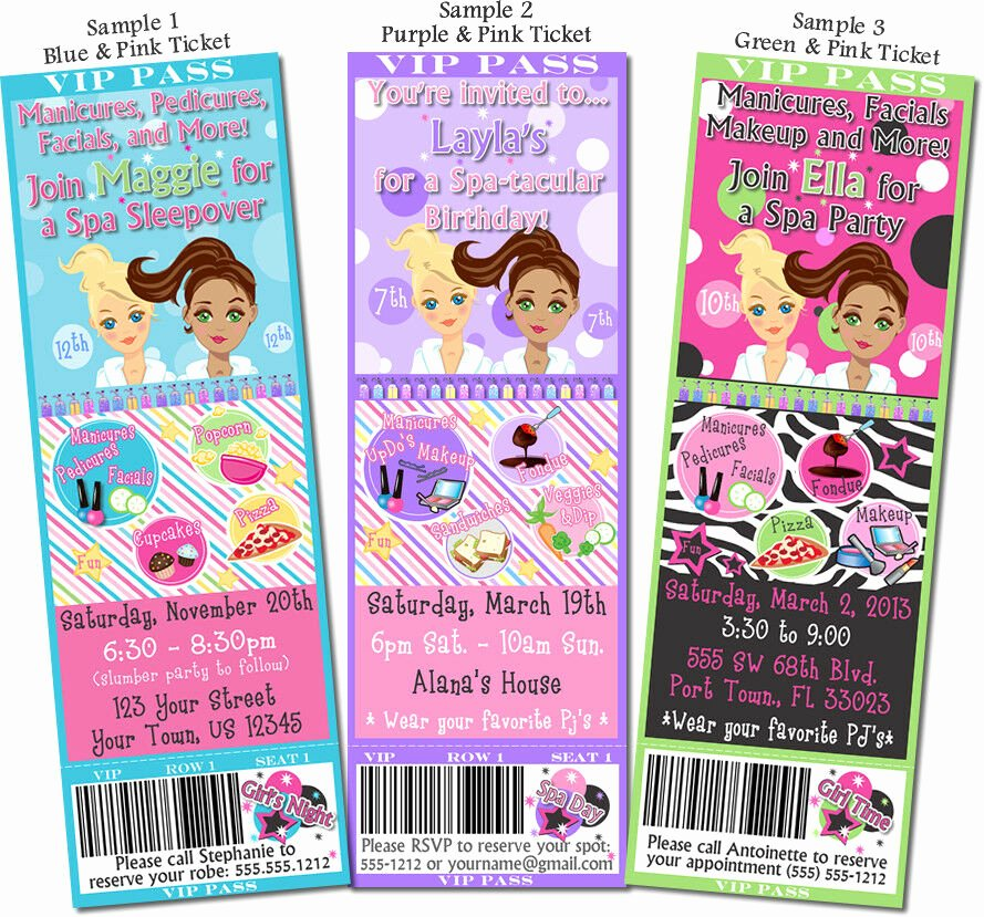 Free Spa Party Invitations Best Of Printed Spa Girls Night In Birthday Party Ticket