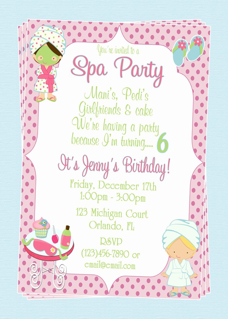 Free Spa Party Invitations Inspirational Custom Spa themed Birthday Party Invitations Diy Printable