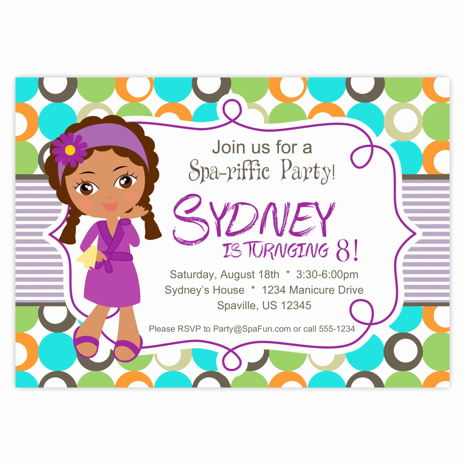 Free Spa Party Invitations Inspirational Spa Party Invitation Lime Turquoise and orange Polka Dots