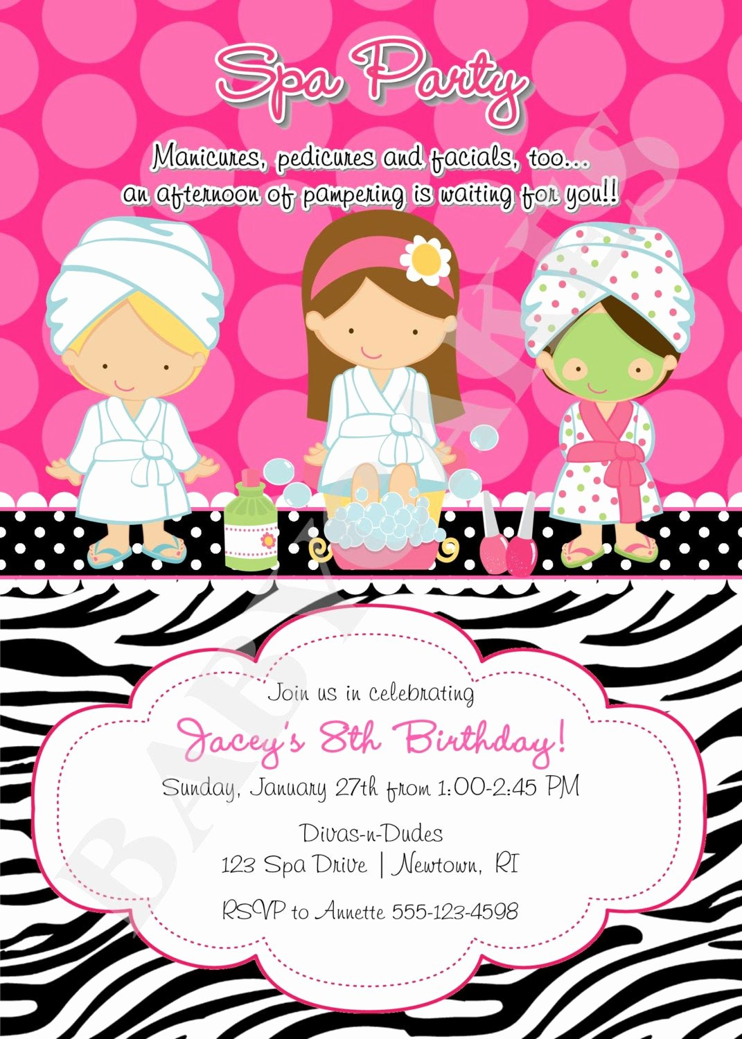 Free Spa Party Invitations Lovely Spa Party Birthday Invitation Invite Spa Birthday Party Choose