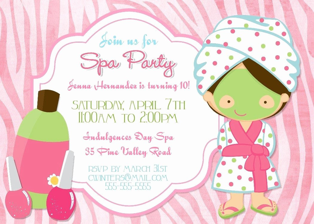 Free Spa Party Invitations Lovely Spa Party Birthday Party Invitation Printable by