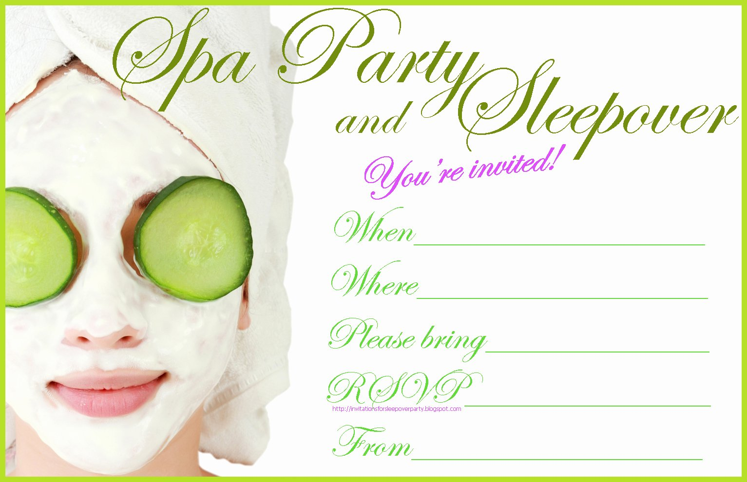spa party invitation free to print