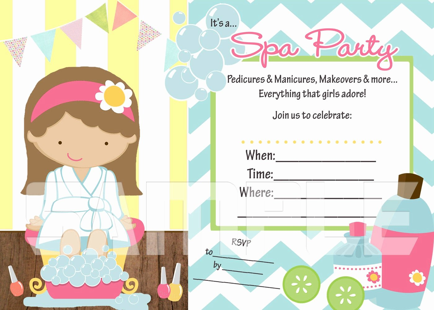 Free Spa Party Invitations Unique Fill In the Blank Spa Party Printable Invitation by