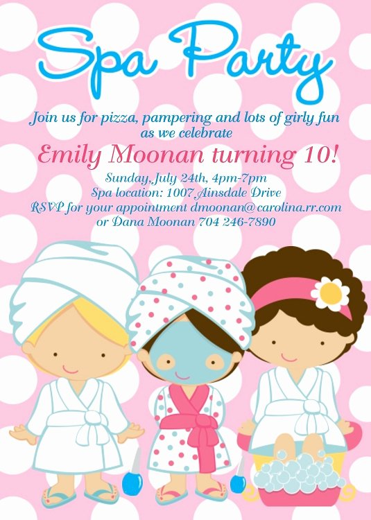 Free Spa Party Invitations Unique Spa Party Birthday Invitations