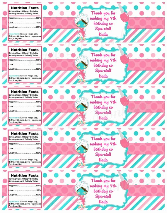Free Spa Party Printables Awesome Free Printable Spa Party Water Bottle Labels