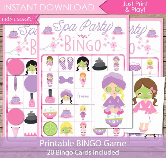 Free Spa Party Printables Beautiful Spa Party Bingo Printable Party Game Spa Birthday Party Game