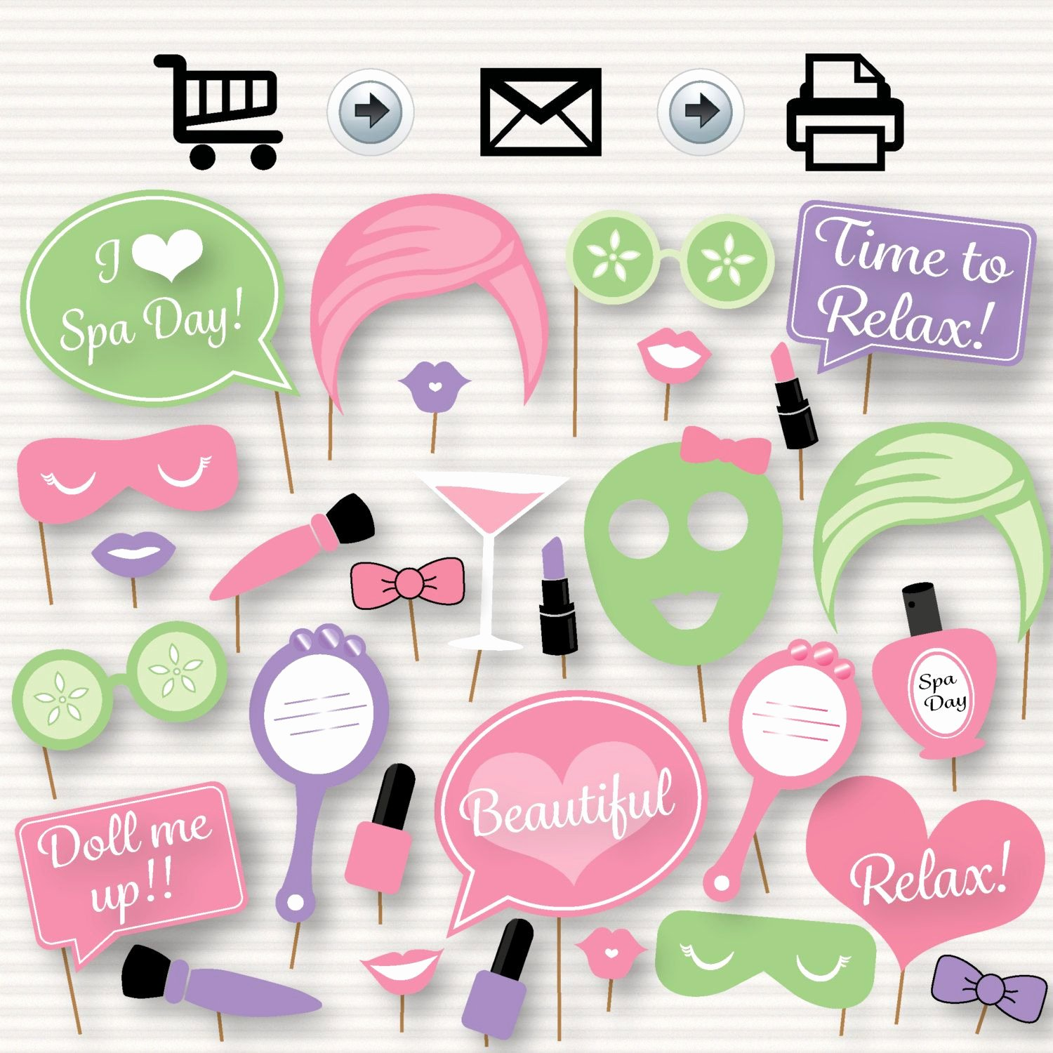 Free Spa Party Printables Elegant Spa Day Party Printable Booth Props Instant
