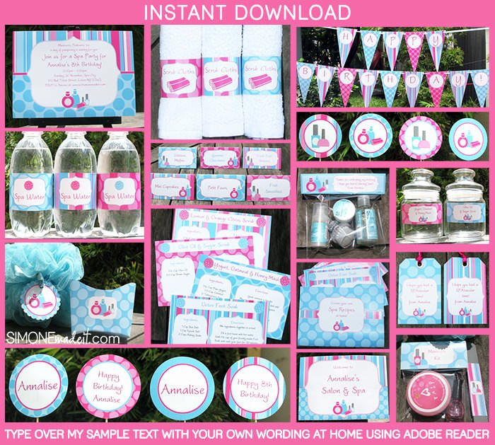 Free Spa Party Printables Lovely southern Blue Celebrations Spa Party Ideas