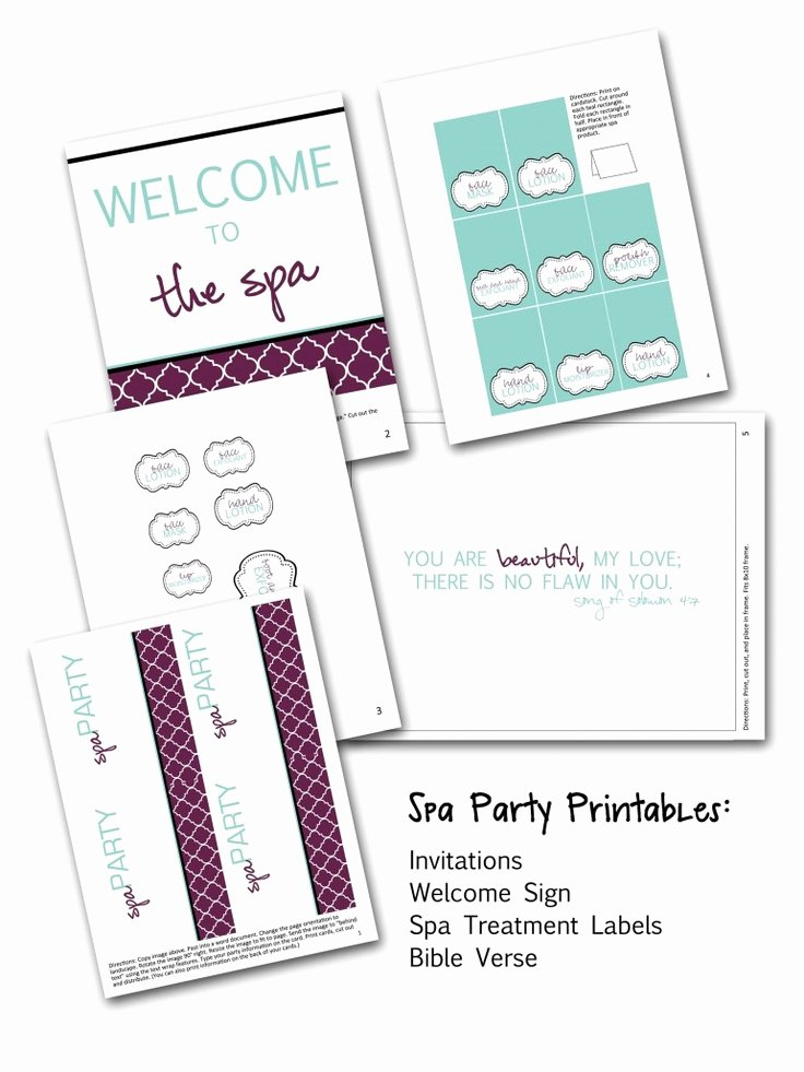 Free Spa Party Printables Luxury 17 Best Images About Mallory Spa Birthday Party On