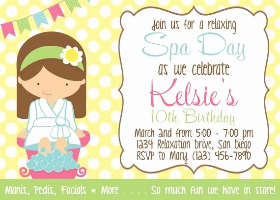 spa day invitation girl birthday party