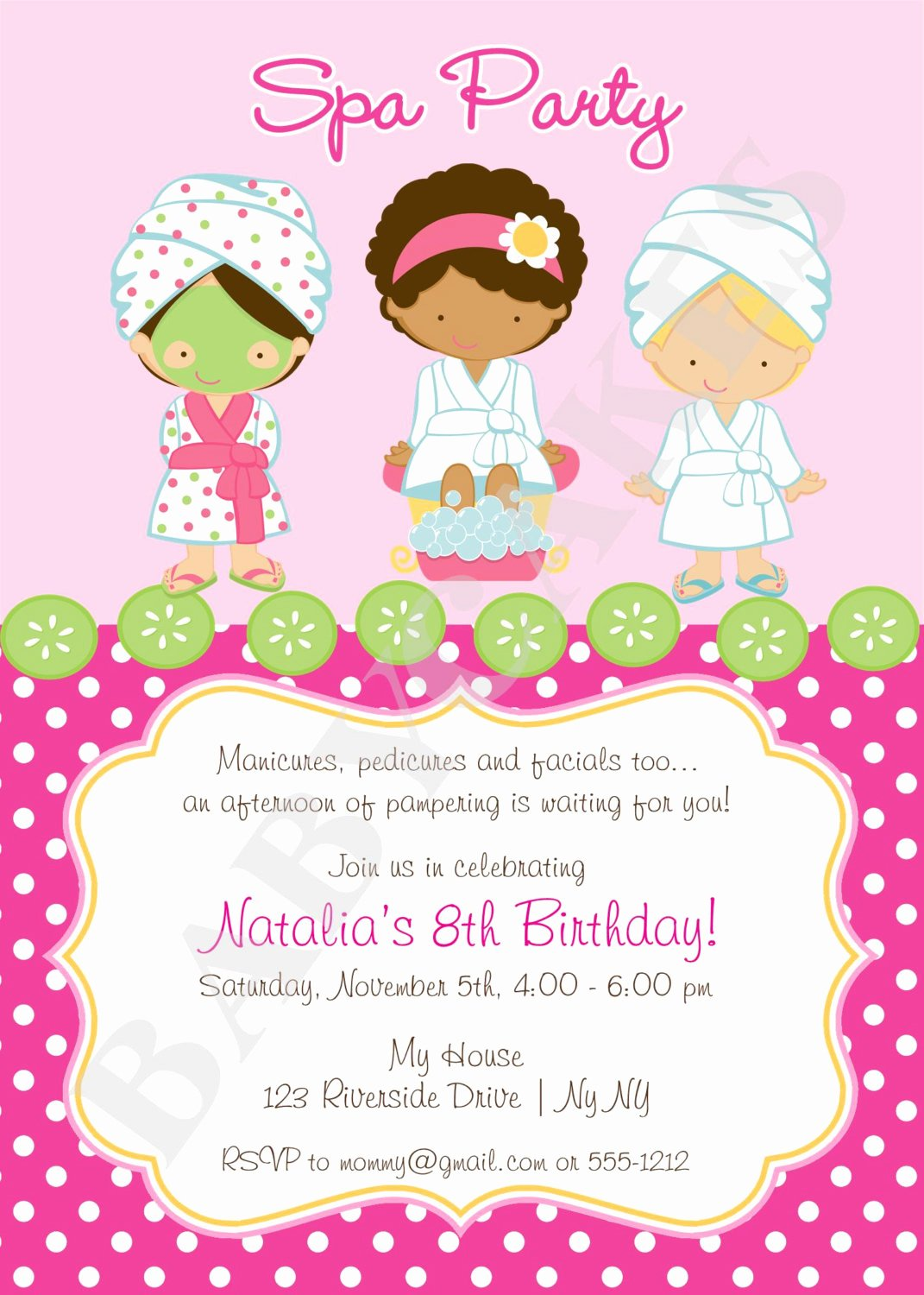 Free Spa Party Printables New Spa Party Invitation Diy Print Your Own Matching by