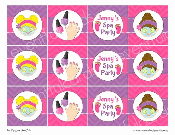 Free Spa Party Printables Unique Spa Birthday Party Circles Cupcake topper by eventfulcards