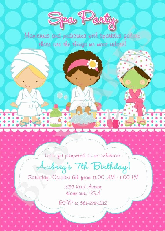 Free Spa Party Printables Unique Spa Party Birthday Invitation Spa Birthday Party Invite