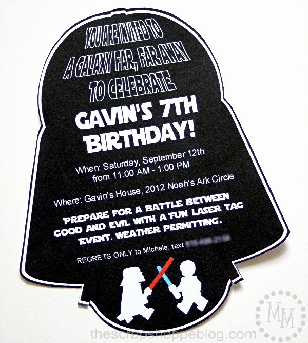Free Star Wars Invitations Elegant Star Wars Darth Vader Birthday Invitation the Scrap Shoppe