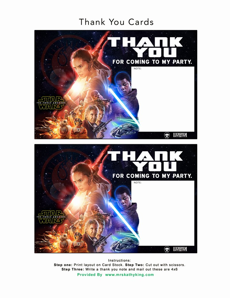 Free Star Wars Invitations Lovely Free Star Wars the force Awakens Invitation & Thank You