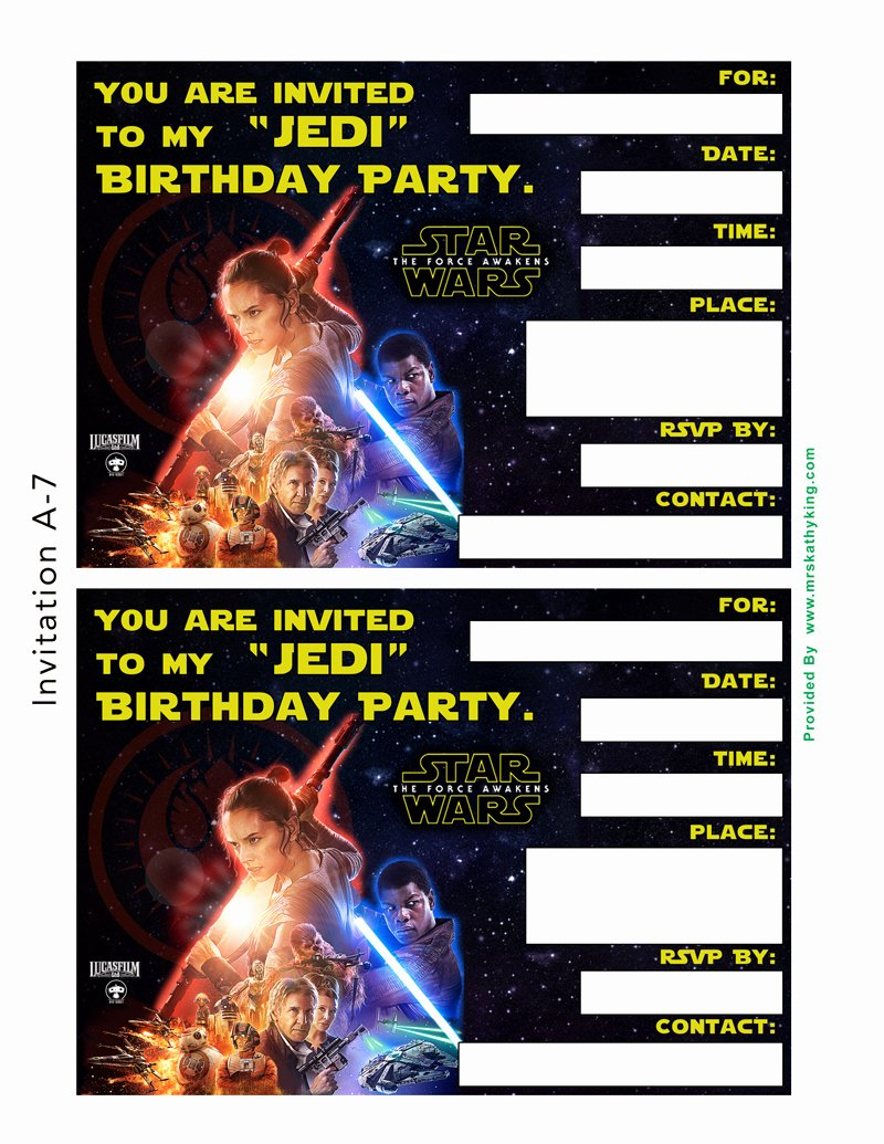 Free Star Wars Party Invitations Awesome Free Star Wars the force Awakens Printable Party