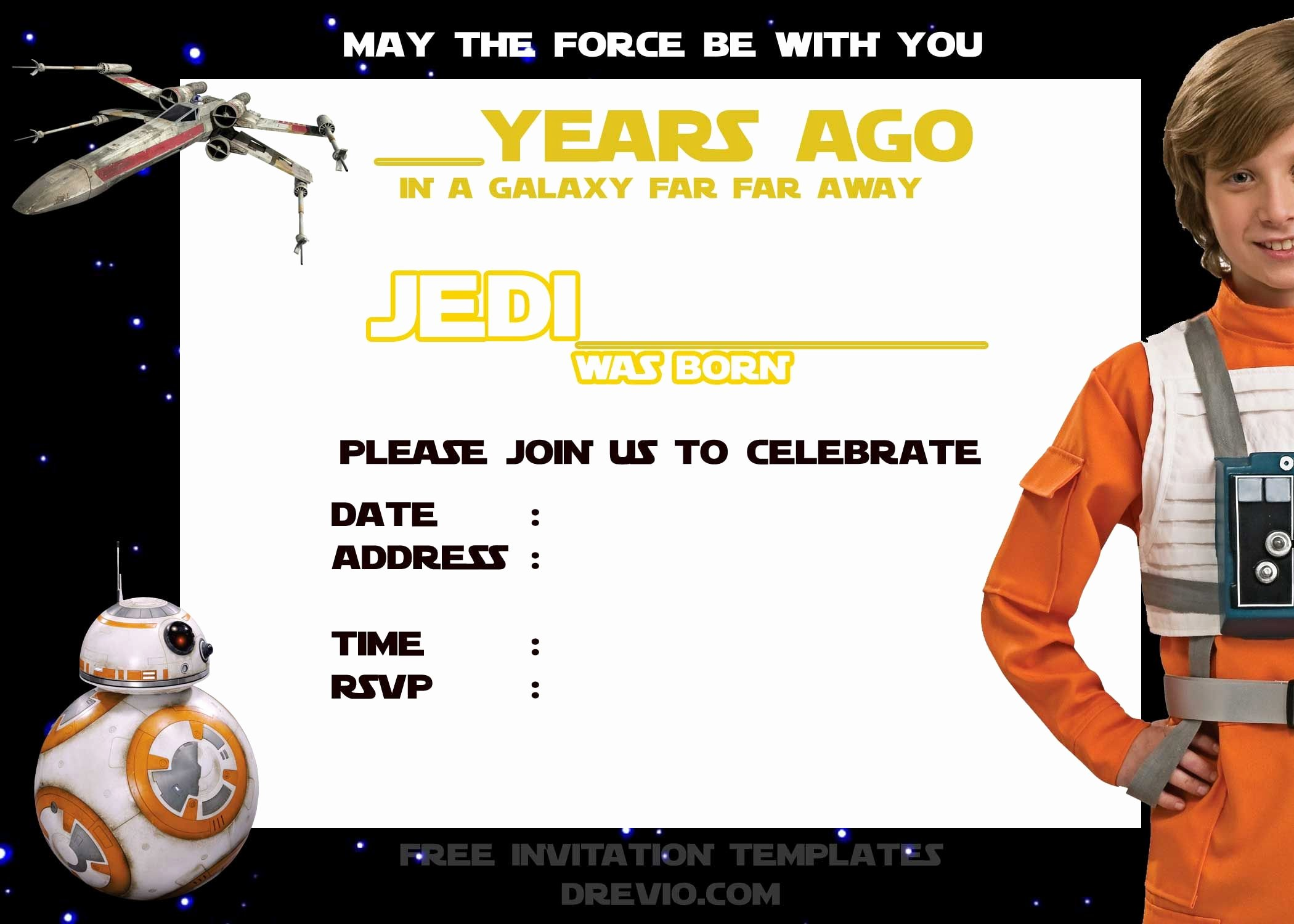 Free Star Wars Party Invitations Beautiful Pin by Drevio On Free Printable Birthday Invitation