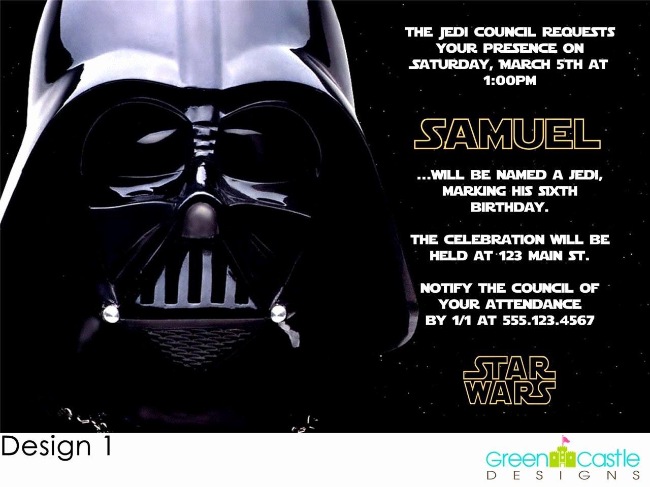 Free Star Wars Party Invitations New 20 Star Wars Invitations Darth Vader Custom