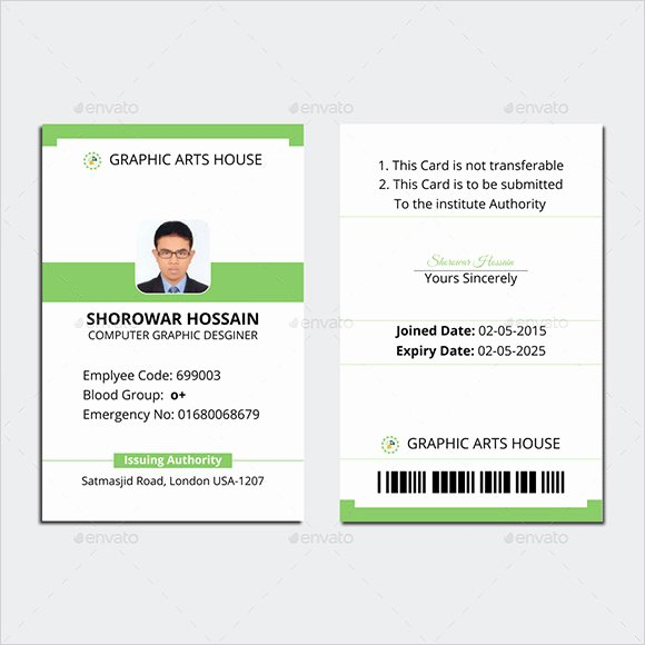 Free Student Id Template Awesome Employee Id Card Template