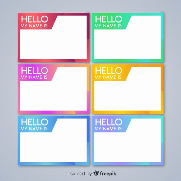Free Template for Name Tags Awesome Colorful Name Tag Template Collection Vector