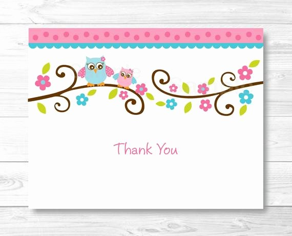 Free Thank You Cards Templates Lovely Pink Owl Thank You Card Folded Card Template Owl Baby