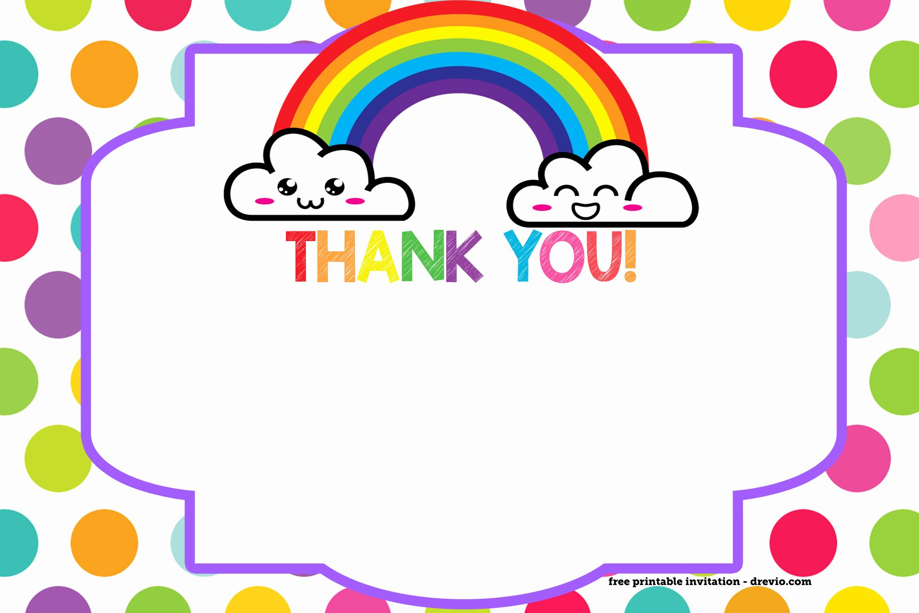 Free Thank You Cards Templates Unique Free Printable Rainbow Invitation Template Thank You