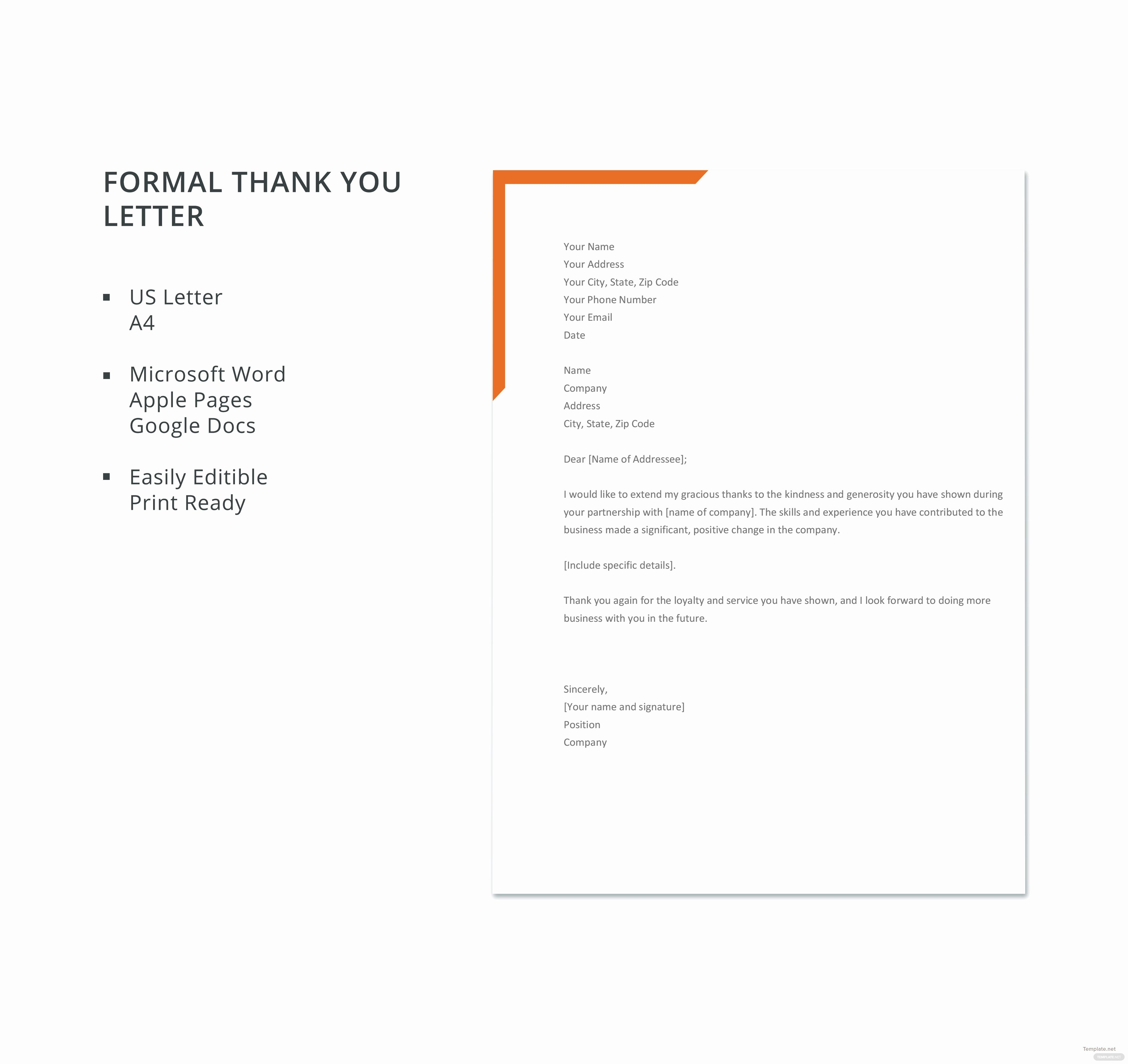 Free Thank You Letters Awesome Free formal Thank You Letter Template In Microsoft Word